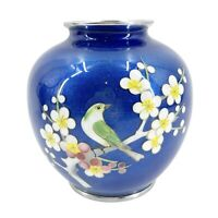 "Antique Chinese Cloisonne Vase 5.5"" Tall Cobalt Blue & Silver Bird & Floral"