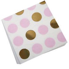 Servietten 'Punkte' rosa gold (16 Stück) - Geburtstag Taufe Hochzeit Partydeko