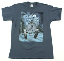 VTG Portland Oregon T-Shirt Wolf Dream Catcher Glitter Single Stitch Sz L Blue
