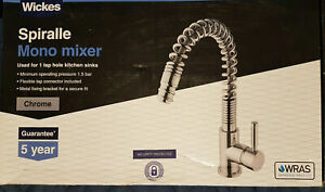 Wickes Spiralle Pull Out Down Monobloc Kitchen Sink Mixer Tap Chrome New