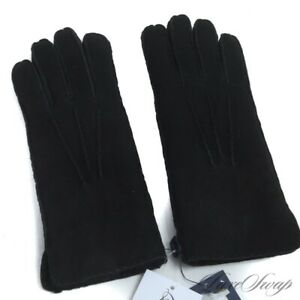 NWT $198 Polo Ralph Lauren Black Sheepskin Suede Shearling Fur Lined Gloves NR S