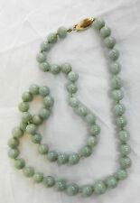 Art Deco Celadon Jade Necklace with 14 carat Gold Clasp c 1920s