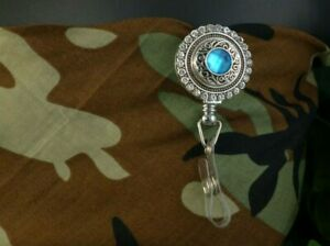 BLUE ZIRCON bling snap Retractable Badge Reel w/CHAIN Pull ID Holder