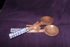 "Pair of MudPie Wood Salad Serving Spoons with Blue and White Handles ""Must See"""