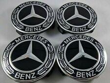 4 Caches Moyeu Mercedes 75 mm black noir  Logo Jante Centre De Roue