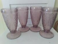 "Tiara Indiana Plum / Purple Amethyst Sandwich Glasses 6 1/4""  4 Glass Tumblers"