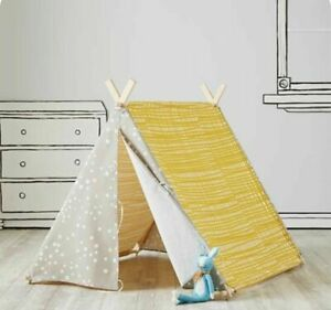 Land Of Nod Yellow And Gray Playhouse Pup Tent Teepee Cover Only Crate & Barrel