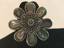 Vintage CFJ Signed 925 STERLING SILVER Floral Carved Shell Marcasites Ring SZ 6