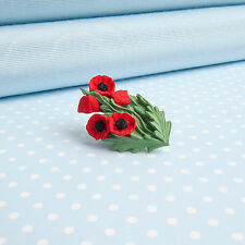 POPPY LAPEL PIN    hand-painted flower jewellery   MADE IN WALES  UK
