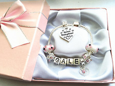 Personalised ANY NAME childrens girls pink silver charm bracelet FAST DISPATCH