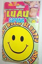 Don't Worry Be Happy Luau Sarong Beach Pool Swim Cover Up Smiley Face Green
