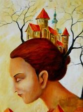 Painting Original oil on canvas fine contemporary art Modern surrealism Old town