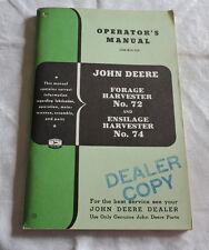 John Deere Forage Harvester No.72 & Ensilage Harvester 74 Manual - C2818