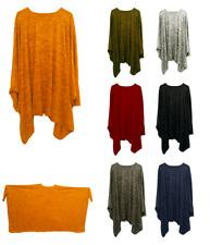 Ladies Winter Italian Lagenlook Plain Flowy Batwing Kaftan dress Top Plus Size