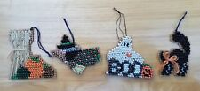 4 Halloween Beaded Cross Stitch Ornaments-Ghost, Witch, Cat, Pumpkin- Well Done
