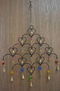 HANDMADE HEART RUSTY IRON METAL BELLS WIND CHIME GARDEN YARD #F-1082