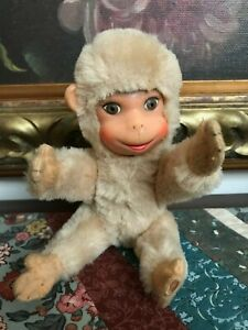 Antique German Schuco White Monkey Mohair 1955 Rubber Face 8 Inch