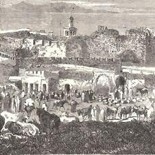 Tanger Maroc - Vue marché Port Ville Afrique du Nord - Gravure de presse 1859