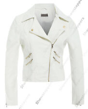 Size 8 10 12 14 NEW Women's BIKER JACKET PU FAUX LEATHER Ladies Ivory White
