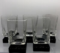 Disaronno Square Black Footed Glasses Lot of 5 Liqueur Cordial Bar Amaretto