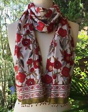 Anokhi Red Poppy Cotton Scarf with Beading & Gold Stamping