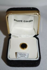 Vintage Pierre Cardin Gold & Genuine Diamond Round Lapel Pin Tie Tack