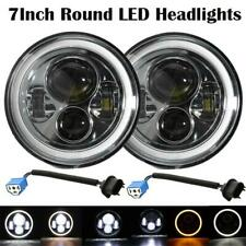 "2x7""Inch 60W Round LED Headlights Halo Angle Eyes For Jeep Wrangler JK LJ TJ CJ"