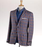 NWT $2395 BELVEST Denim Blue-Rust Orange Check Linen-Cotton Sport Coat 38 R