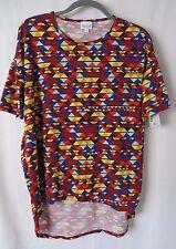 Lularoe Irma Shirt High Low Tunic Multi Color Geometric Print Size XXS  #6350