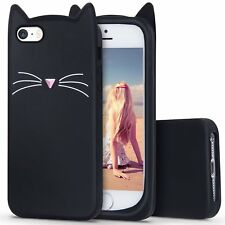 iPhone SE / 5 5S - Soft Silicone Rubber Skin Case Cover Black Cat Kitty Whiskers