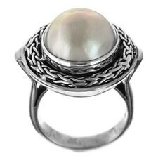 White Mabe Cultured Pearl Bali Artisan Handmade 925 Sterling Silver Ring