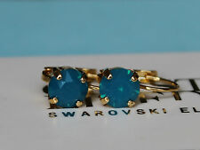 Choose Your Finish Caribbean Blue Leverback Earrings with Swarovski Elements