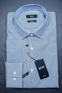 Hugo Boss Men's Jenno Slim Fit Easy Iron Navy Plaids Cotton Dress Shirt 39 15.5