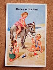 R&L Postcard: Valentine's Donkey Series, Rowles, No.1815, 1950s Children