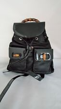 GUCCI BLACK PATENT & LEATHER BACKPACK WITH BAMBOO & SILVER TONE ACCENTS - UNUSED