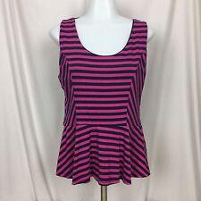 Maurices Womens Top Sz L Pink Blue Striped Sleeveless Peplum Blouse Tank