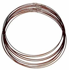 "NC160 Brown 18"" Stainless Plastic Coated Wire Collar Pendant Necklace Neckwire"