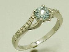 Aquamarine Solitaire White Gold Engagement Rings