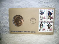 FIRST DAY COVER BICENTENNIAL MEDAL COIN & PAUL REVERE COMMEMORATIVE STAMPS 1975