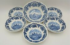 Enoch Wedgewood Royal Homes of Britain dessert bowls x 6 with serving bowl blue