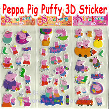 3 X Peppa Pig & George Puffy 3D Stickers Birthday Party Gift For Lolly Loot Bags