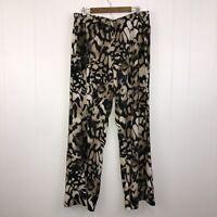 Calvin Klein Women's Sheer Casual Leopard Pants Wide Leg Black Brown Size XL