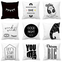 Black And White Abstract Wink Eyes Throw Pillow Case Linen Square cushion covers
