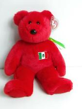 Ty Beanie Baby Buddy Red OSITO Bear with Mexican Flag 1999 NWT