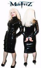 Misfitz black rubber latex buckle/padlock restraint dress Size 8-32 /custom made
