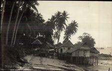 Malaya Malaysia Fishing Village c1920 Real Photo Postcard