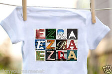 EZRA Baby Bodysuit in Sign Letter Photos - 100% Cotton & Short Sleeve