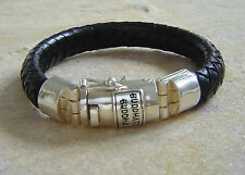 Buddha to Buddha Armband Ben black Leder / Sterling Silver XL Sonderlänge 23 cm