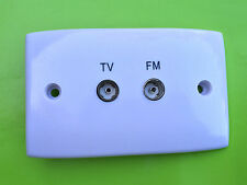 TV / FM Antenna Wall Plate + plaster bracket & screws for RG6 & RG59 coax cable