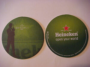 Cool 2012 Beer Brewery Coaster ~ HEINEKEN Brewery ~ SKYFALL James Bond Movie 007